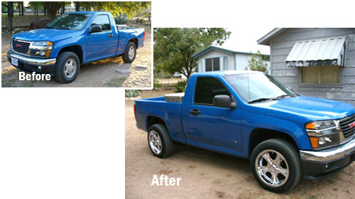 Keith Henson's truck. Before and after pictures of 1.5 inch wheel spacers from WheelAdapter.com.
